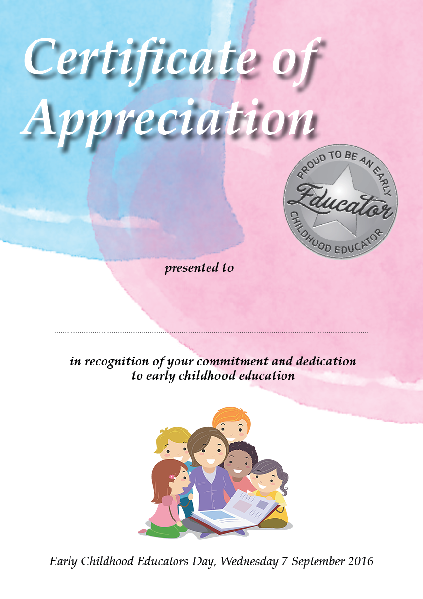Certificate of Appreciation ECE Day 2016
